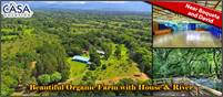 Very Beautiful 19 Acre Organic Farm with House & River on Paved Road Near Boquete and David