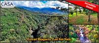 Boquete Lot for Sale with Incredible Views of River Canyon and Mountains