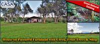 House on Pastured Farmland with Creek, Fruit Trees & Shop – Private –Choose Your Size 2 or 4 Hectars