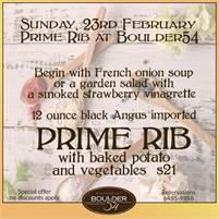 Prime Rib every Sunday at Boulder 54